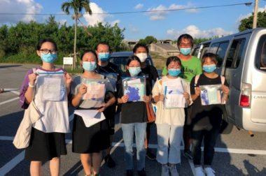 中国の企業から学生の皆さんにとたくさんのマスクと手袋が届きました